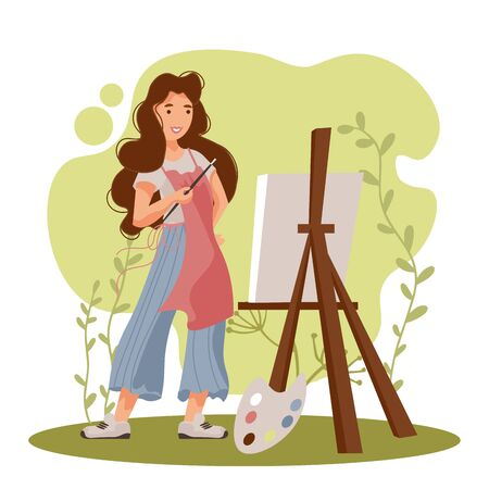 Beautiful woman artist painter working on canvas at easel. Cartoon female character. Vector illustration.