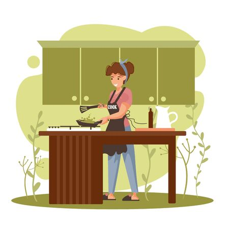 Young woman cooking in the kitchen. Girl in an apron holding a frying pan with vegetables. Cooking at home healthy food. Vector cartoon illustration. Stock Illustratie