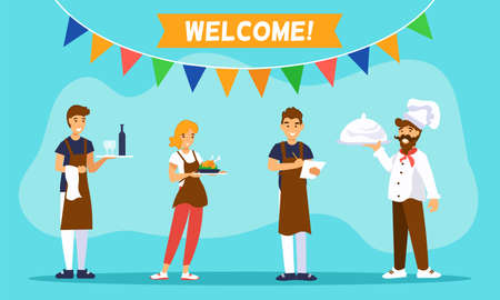 Waiters, waitress and shef cook greet guests of a cafe. Above them are a flags and message WELCOME