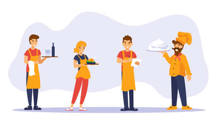 Waiters, waitress and shef cook standing with trays and greet guests of a cafe. Restaurant team characters in orange uniform on gray background. Flat vector illustratioin in cartoon style.