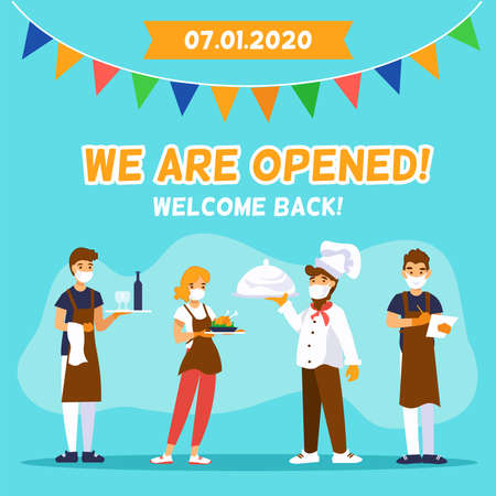Cafe reopening. Square template for banner with chef cook, waiters and message We are opened, Welcome