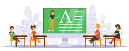 Online school. Boys and girls sitting behind big monitor. Teacher on screen is teaching a lesson.