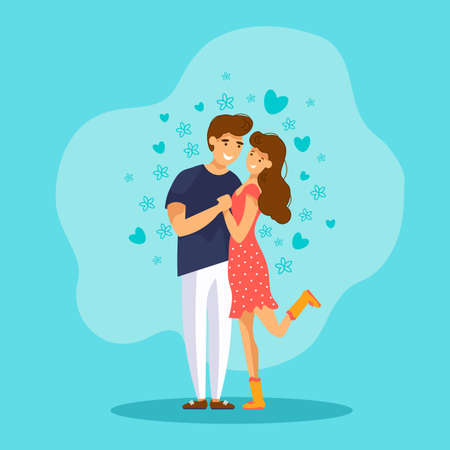 Cute couple in love. Young man and woman hugging. Greeting card for Happy Valentines Day.