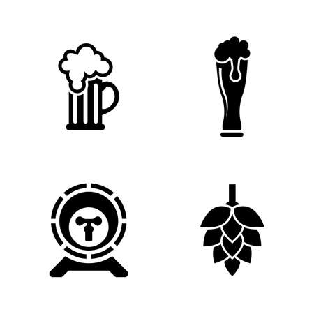 ale: Beer Simple Related Vector Icons Set Illustration