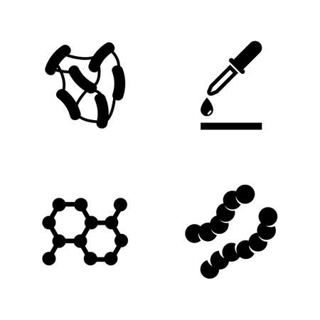 Microbe Laboratory Experiment Simple Related Vector Icons Set