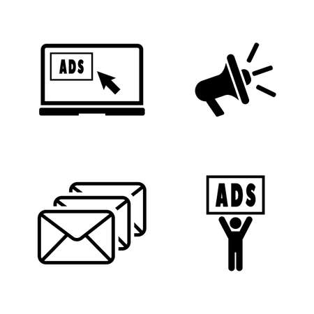 Advertise. Simple Related Vector Icons Set for Video, Mobile Apps, Web Sites, Print Projects and Your Design. Black Flat Illustration on White Background.