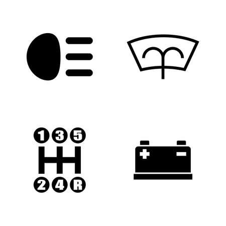 車の部品。ビデオ、携帯アプリ、Web サイトの簡単な関連ベクトル アイコンを設定は、プロジェクトとあなたのデザインを印刷します。白い背景に黒  イラスト・ベクター素材