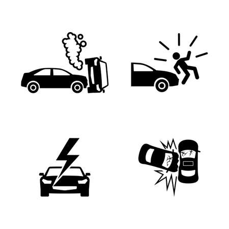 Crashed Cars. Simple Related Vector Icons Set for Video, Mobile Apps, Web Sites, Print Projects and Your Design. Black Flat Illustration on White Background. Illustration
