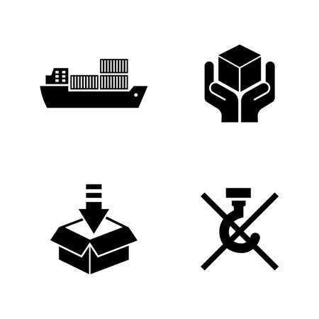 warehouse building: Priority Shipping. Simple Related Vector Icons Set for Video, Mobile Apps, Web Sites, Print Projects and Your Design. Black Flat Illustration on White Background.