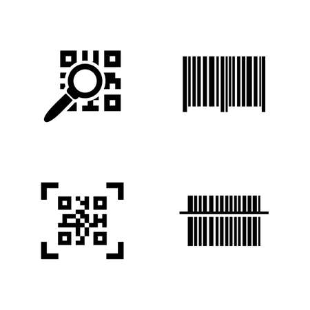 QR Code. Simple Related Vector Icons Set for Video, Mobile Apps, Web Sites, Print Projects and Your Design. Black Flat Illustration on White Background.