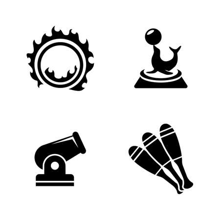 Circus Carnival Amusement Park. Simple Related Vector Icons Set for Video, Mobile Apps, Web Sites, Print Projects and Your Design. Black Flat Illustration on White Background.