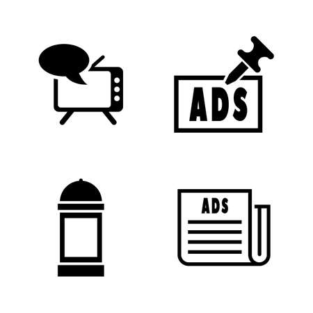 Advertising. Simple Related Vector Icons Set for Video, Mobile Apps, Web Sites, Print Projects and Your Design. Black Flat Illustration on White Background.
