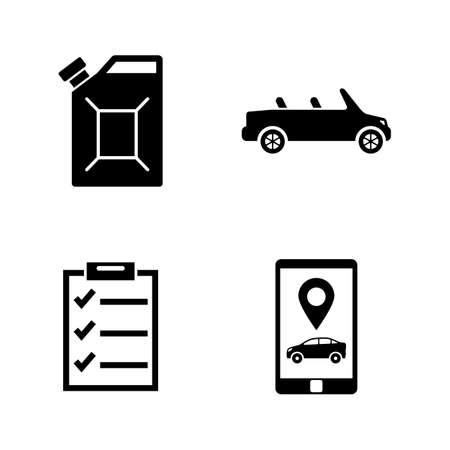 Auto onderhoud. Eenvoudige gerelateerde Vector Icons Set voor video, mobiele apps, websites, printprojecten en uw ontwerp. Zwarte vlakke afbeelding op witte achtergrond.