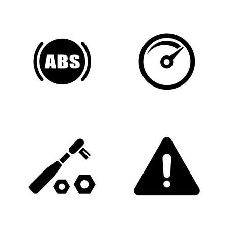Set of auto service simple related icons on white background.