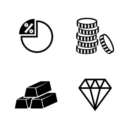 Set of finance and banking simple related icons on white background.