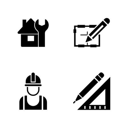 Set of carpentry equipment simple related icons on white background. Ilustracja