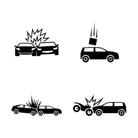 Car Crash. Simple Related Vector Icons Set for Video, Mobile Apps, Web Sites, Print Projects and Your Design. Black Flat Illustration on White Background. Çizim