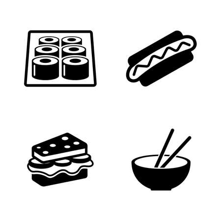 Fast food. Simple Related Vector Icons Set for Video, Mobile Apps, Web Sites, Print Projects and Your Design. Black Flat Illustration on White Background.