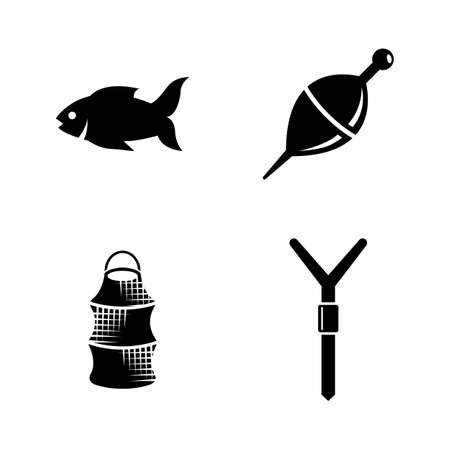 bobber: Fishing. Simple Related Vector Icons Set for Video, Mobile Apps, Web Sites, Print Projects and Your Design. Black Flat Illustration on White Background.
