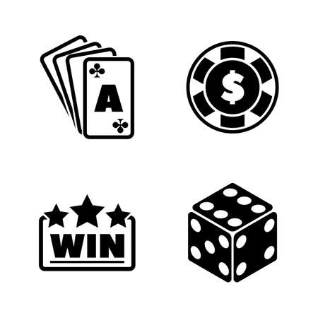 Gambling. Simple Related Vector Icons Set for Video, Mobile Apps, Web Sites, Print Projects and Your Design. Black Flat Illustration on White Background.