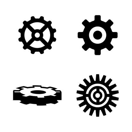 Gear. Simple Related Vector Icons Set for Video, Mobile Apps, Web Sites, Print Projects and Your Design. Black Flat Illustration on White Background. Ilustração