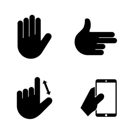 Hands. Simple Related Vector Icons Set for Video, Mobile Apps, Web Sites, Print Projects and Your Design. Black Flat Illustration on White Background.