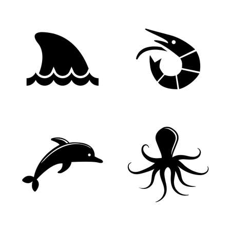 great: Marine Life. Simple Related Vector Icons Set for Video, Mobile Apps, Web Sites, Print Projects and Your Design. Black Flat Illustration on White Background.