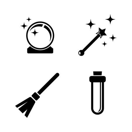 Magic. Simple Related Vector Icons Set for Video, Mobile Apps, Web Sites, Print Projects and Your Design. Black Flat Illustration on White Background. Illustration