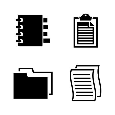 Documents. Simple Related Vector Icons Set for Video, Mobile Apps, Web Sites, Print Projects and Your Design. Black Flat Illustration on White Background.