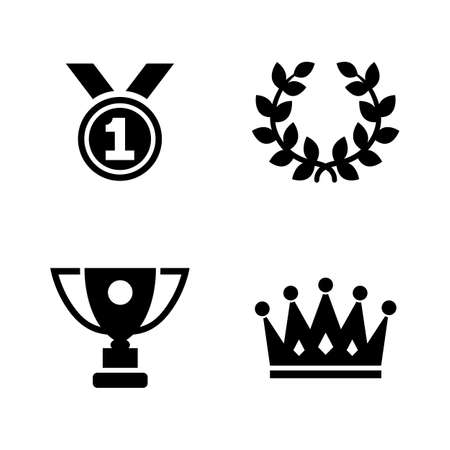 Champions Trophy. Simple Related Vector Icons Set for Video, Mobile Apps, Web Sites, Print Projects and Your Design. Black Flat Illustration on White Background.