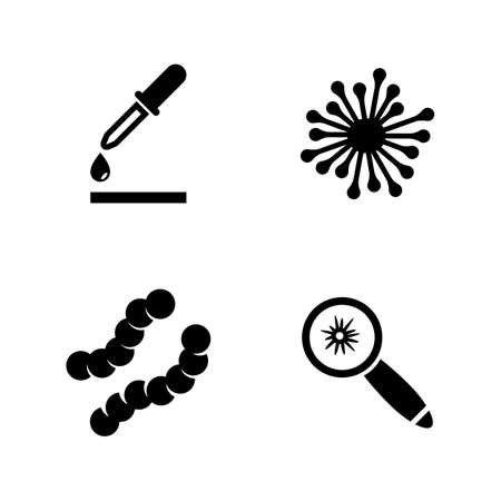 uomo vitruviano: Biology Laboratory Experiment. Simple Related Vector Icons Set for Video, Mobile Apps, Web Sites, Print Projects and Your Design. Black Flat Illustration on White Background. Vettoriali