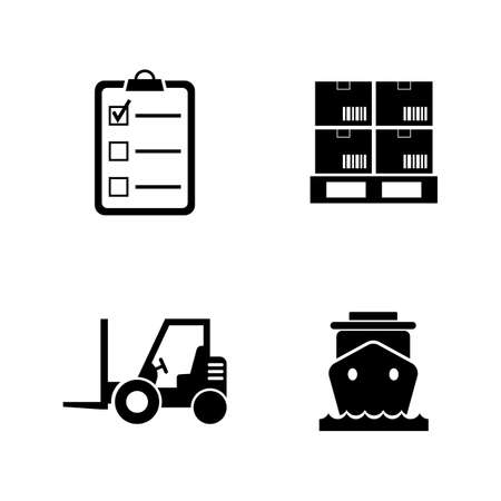 Shipping and Logistics. Simple Related Vector Icons Set for Video, Mobile Apps, Web Sites, Print Projects and Your Design. Black Flat Illustration on White Background.