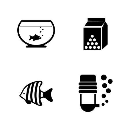 수족관 물고기. 간단한 관련 벡터 아이콘 비디오, 모바일 애플 리케이션, 웹 사이트, 인쇄 프로젝트 및 디자인에 대 한 설정. 흰색 배경에 검정 평면 그림입니다.