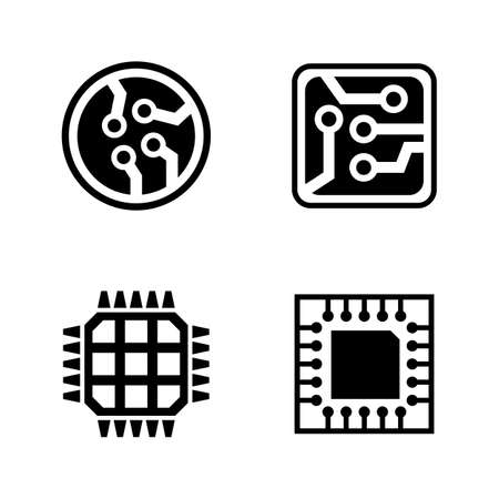 Microelectronics, simple related vector icons set for Video, Mobile Apps, Web Sites, Print Projects and Your Design. Black Flat Illustration on White Background.