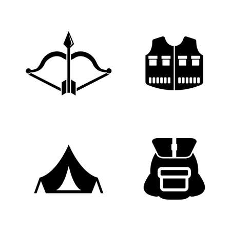 to spend the summer: Hiking. Simple Related Vector Icons Set.
