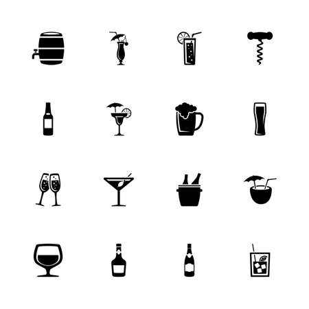 Alcoholic icons - Expand to any size - Change to any color. Flat vector icons - Black illustration on white background. Çizim
