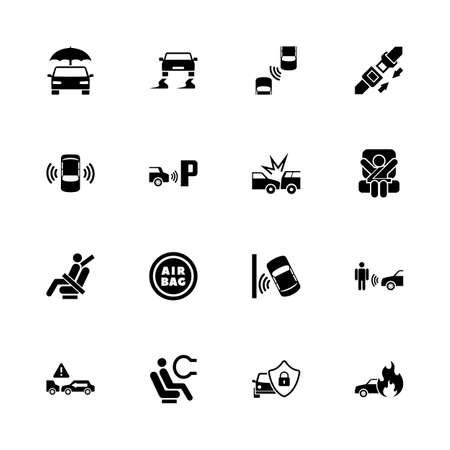 Auto safety icons - Expand to any size - Change to any color. Flat vector icons - Black illustration on white background.