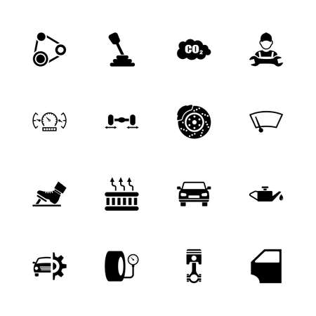 Auto icons - Expand to any size - Change to any color. Flat vector icons - Black illustration on white background. Illustration