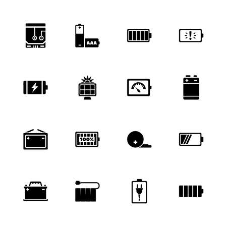 any size: Battery icons - Expand to any size - Change to any colour. Flat Vector Icons - Black Illustration on White Background.