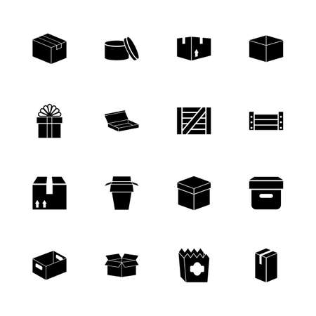 any size: Box and Crates icons - Expand to any size - Change to any colour. Flat Vector Icons - Black Illustration on White Background.