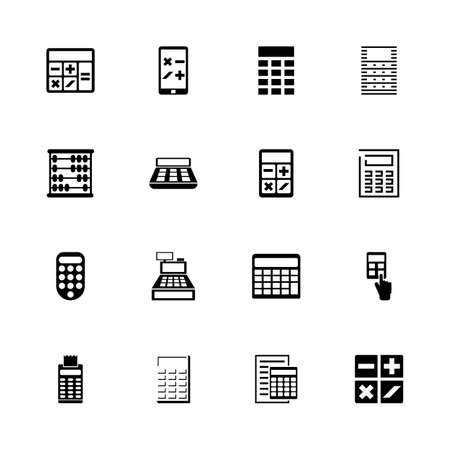 Calculation icons - Expand to any size - Change to any colour. Flat Vector Icons - Black Illustration on White Background.