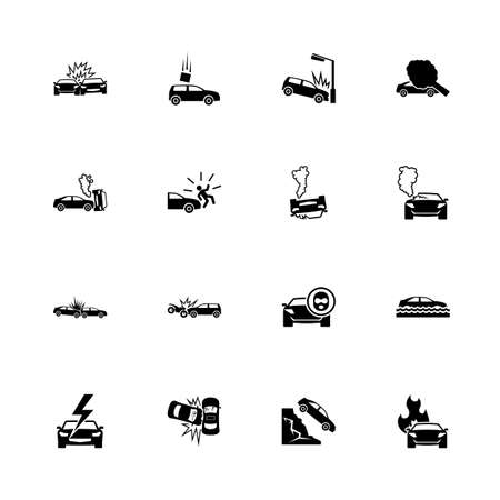 Car Crashes icons - Expand to any size - Change to any colour. Flat Vector Icons - Black Illustration on White Background.