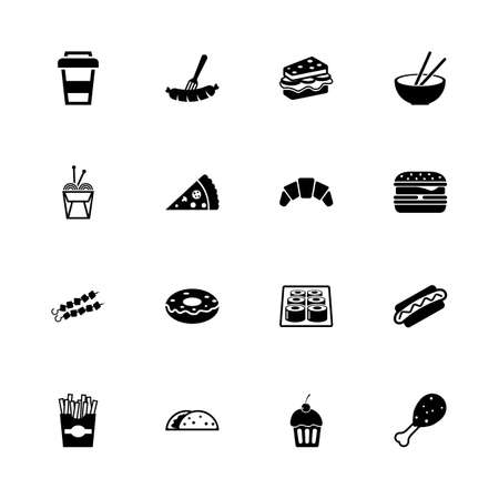 Fast Food icons - Expand to any size - Change to any colour. Flat Vector Icons - Black Illustration on White Background.