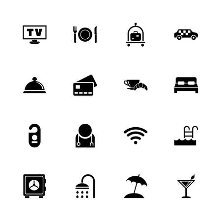 apartment bell: Hotel - Expand to any size - Change to any colour. Flat Vector Icons - Black Illustration on White Background. Illustration