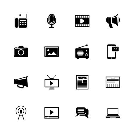 Media icons - Expand to any size - Change to any color. Flat vector icons - Black illustration on White background.