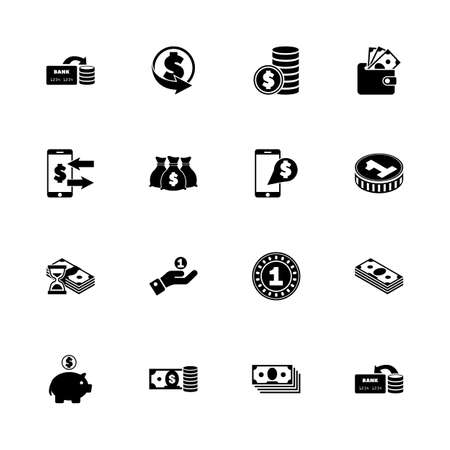 any size: Currency - Expand to any size - Change to any colour. Flat Vector Icons - Black Illustration on White Background.
