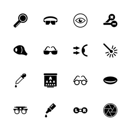 Optometry - Expand to any size - Change to any colour. Flat Vector Icons - Black Illustration on White Background. Illustration