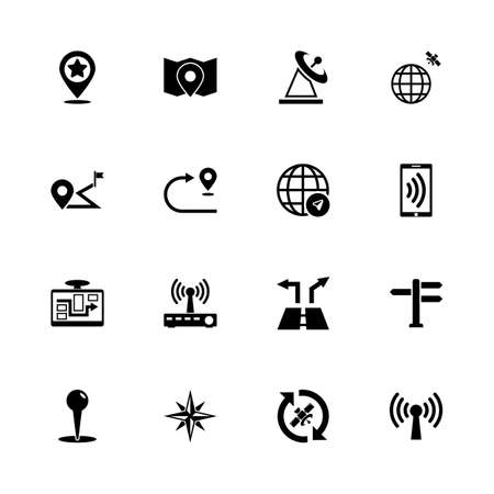 Satelite Navigation icons - Expand to any size - Change to any colour. Flat Vector Icons - Black Illustration on White Background.