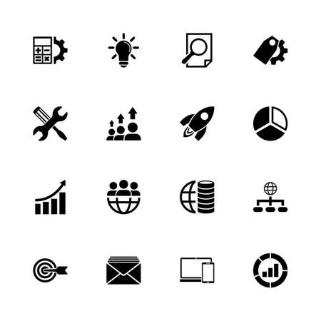 Seo icons - Expand to any size - Change to any colour. Flat Vector Icons - Black Illustration on White Background.