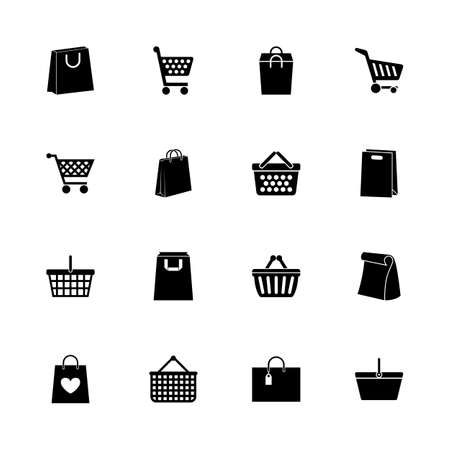consumerism: Shopping Bags icons - Expand to any size - Change to any colour. Flat Vector Icons - Black Illustration on White Background. Illustration